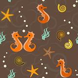 Seamless pattern with sea horses