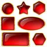 Buttons with red gems, set
