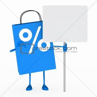 blue percent sale bag