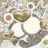 vector vintage scrap template design with hearts, for valentine&#39;