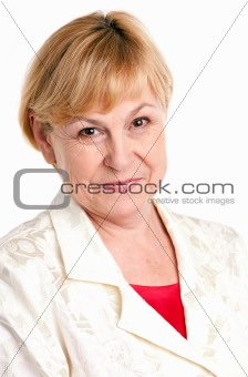 Portrait of cheerful mature woman over white