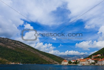 Houses on the shore of Kotor Bay, Montenegro