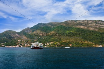 the ferry in Boka Kotorska to a bay