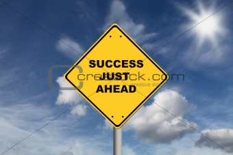 Success just ahead road sign
