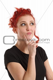 Redhead female thinking