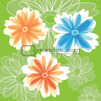 Abstract Flowers on green color background