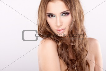 Beautiful woman with long brown hair