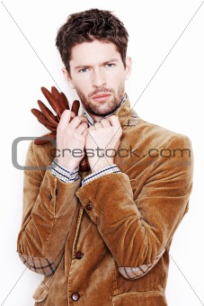 Fashion portrait of handsome man isolated on white background
