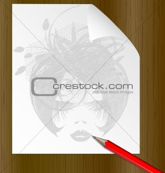 pencil and the image of a dame