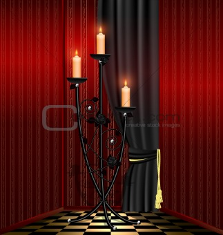 red room and black chandelier