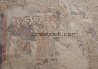 Ancient roman painting at a temple