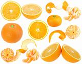 Set of orange and tangerine fresh fruits