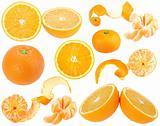 Set of orange and tangerine fresh fruits