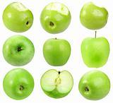 Set of fresh green apples