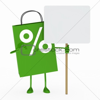 green percent sale bag