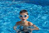 Boy with spectacles in the swimming pool