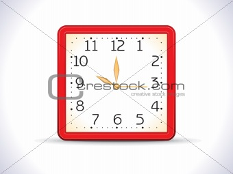 abstract red shiny squre clock