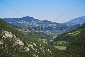 Green mountains in a sunny day