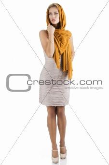 blond girl in elegant dress, she looks at right