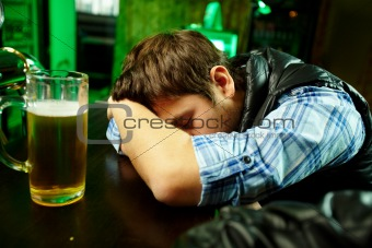 Sleeping in pub