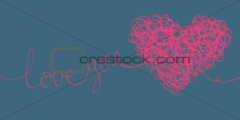 """love you"" words and heart shaped line scribbles on letter forma"