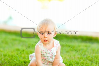 Portrait of interested baby sitting on grass