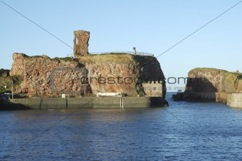 old Dunbar castle and harbour entrance