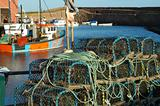 lobster pots and trawlers at Dunbar harbour