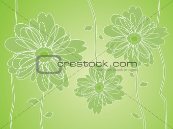 Green Flower silhouettes background