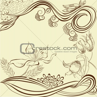 Background with stylized flowers