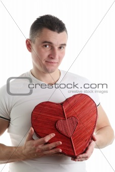 Man with a heart shaped box