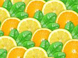 Bbstract background of orange and lemon with green leaf
