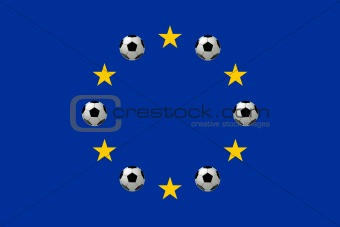Flag of Europe with soccer balls