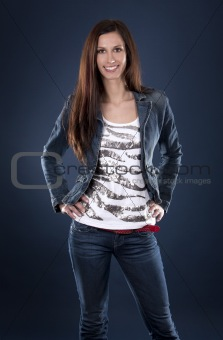 casual brunette wearing jeans