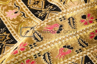 Gold embroidered pattern. Ukrainian ethnic ornament