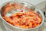 Cooked Prawns with Shell in Strainer