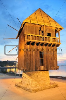 old wooden mill in nessebar bulgaria