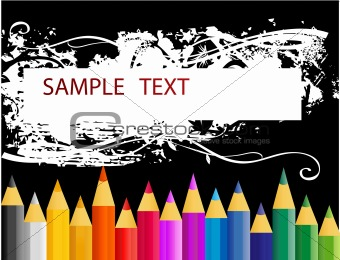 abstract retro vector paint pencils