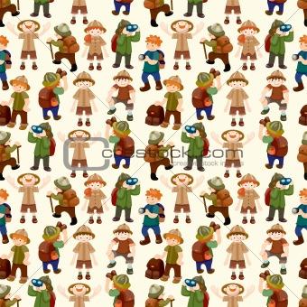 Adventurer people seamless pattern