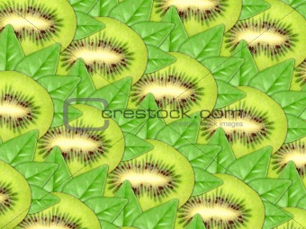 Background of fresh kiwi slices and green leaf
