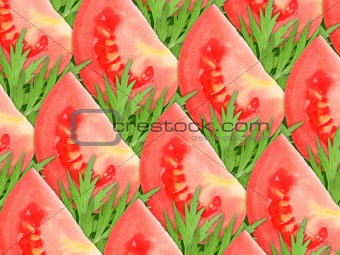 background of red tomatoes and green leaf