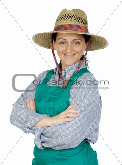Attractive happy woman dressed of gardener