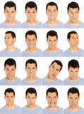 Adult man face expressions composite isolated on white background