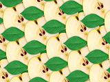 background of apples slices and green leaf