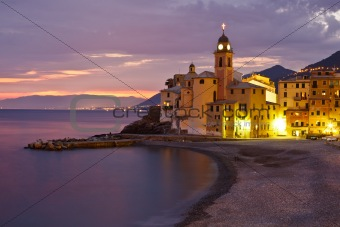 Beautiful Sunset at the Beach in Seaside Village Camogli, Italy