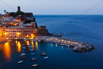 Harbor in Historical Village Vernazza in the Night, Cinque Terre