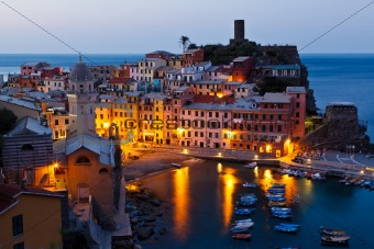 Morning in Historical Village Vernazza, Cinque Terre, Italy