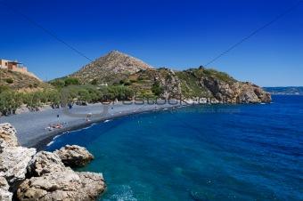 Black stones beach