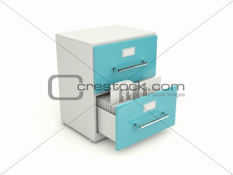Blue archive cabinet icon