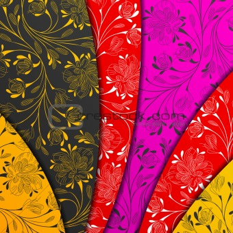 colored layers, abstract background, stylized flowers
